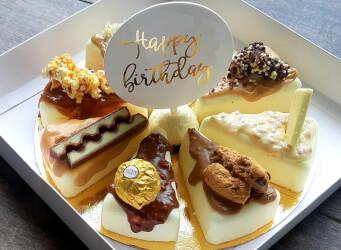 מוס שוקולד לבן בטעמים: פררו רושה, רפאלו, קינדר בואנו, ריבת חלב, פרלינה וחלבה