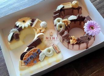 חדש!, עוגת מוס מספרים 26 - מוס שוקולד לבן וחלב עם גנאש ופיצוץ של שוקולד (ניתן להזמין בטעמים שונים)